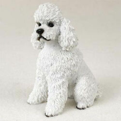 Poodle Figurine Hand Painted Collectible Statue White Sport $19.99