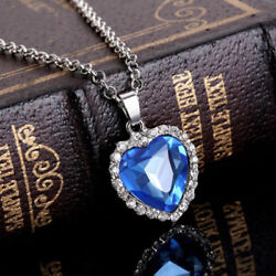 Titanic Heart Of The Ocean Sapphire Blue CZ Crystal Necklace Pendant Jewelry