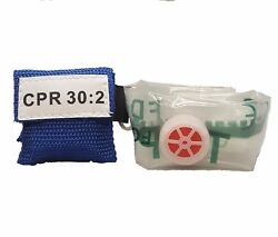1 Blue CPR Mask Keychain with GLOVES Face Shield Mask Pocket $4.99