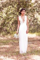 New handmade Wedding Dress Silk Lace Sheath Plunge Neck Open Back Size 0-2 XS S