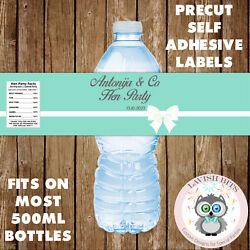 PERSONALISED HEN PARTY TEAL BLUE TIFFANY Co WATER BOTTLE LABELS PARTY FAVOURS GBP 3.25