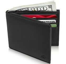 Genuine Leather Minimalist Bifold Wallets For Men RFID Blocking Slim Mens Wallet $9.99