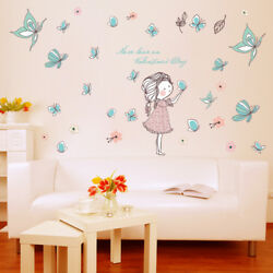 DIY Cartoon Butterfly Wall Stickers Flowers Beautiful Girls Wall Decals Kids $12.50