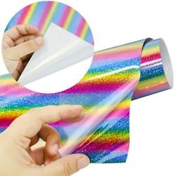 JPSOE 2pcs 12'' x 20'' Rainbow Holographic Stripe Multi Heat Transfer Vinyl HTV