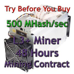 Bitmain Antminer L3+ 500 MHashsec Guaranteed 48 Hours Mining Contract Scrypt $5.09
