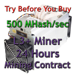 Ant Miner L3 Rental. 500Mh Guaranteed 24 Hours Mining Contract Lease Scrypt LTC $17.75