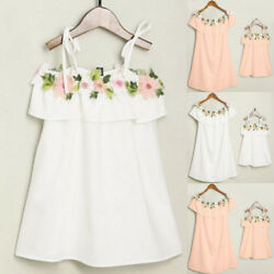 Women Kids Girls Floral Dress Off Shoulder Sundress Beach Party Dress Summer