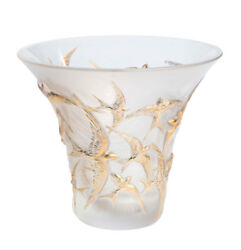 Lalique Hirondelles Swallows Flared Vase Clear Gold Stamped 10624000