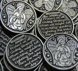 Wish Luck - Set of 10 Guardian Angel Pocket Token Coins Charms