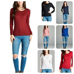 Women Thermal Long Sleeve Solid Waffle Knit T Shirt Top S 3xL reg amp; Plus $12.99