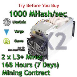 2 x Antminer L3+ Rental 1000 MHashsec Guaranteed 7 Days Mining Contract Scrypt $33.14