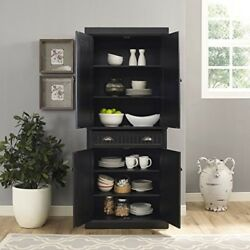 Kitchen Organization And Storage Pantry Dinning Black Large Solid Wood 4 She