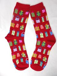 Holiday Crew Socks Charter Club Women#x27;s quot; Christmas Presents quot; Red Size 9 11 $4.95