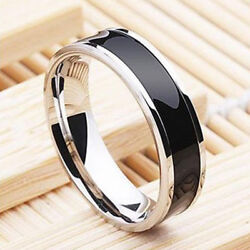 Fashion Jewelry Black Titanium Band Stainless Steel Ring For Men Women Size 6 12