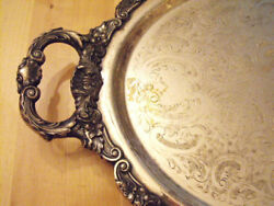 19OO-40 Silverplated Butler Serving tray Ornate Marked Poole Bristol