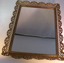 Vintage Mirror Vanity Tray Gold Rectangular Perfume Tray 16 X 11 Stands or Hangs