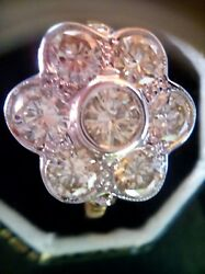 Vintage 2.55ct Diamond Daisy Cluster 18ct Gold Ring Size N