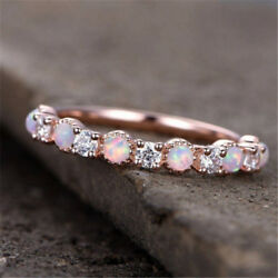 Gorgeous Rose Gold Filled Pink Fire Opal Women Party Cocktail Rings Size 6-10