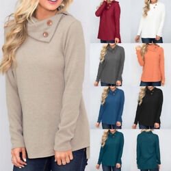 Womens Long Sleeve Tunic T Shirt Autumn Winter Casual Solid Loose Tops Blouse
