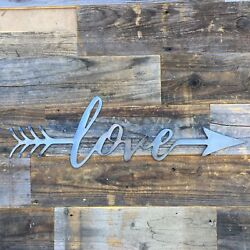 Rustic Home Love with an Arrow 24 x 8 Farmhouse Metal Words Kitchen Wall Decor $29.99