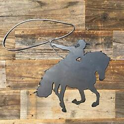 Rustic Home Roping Cowboy Sign 18 x 15 Farmhouse Metal Kitchen Wall Decor $29.99