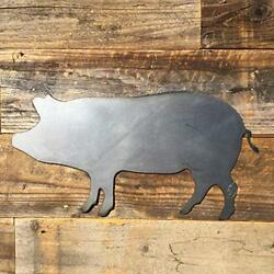 Rustic Home Pig Silhouette Sign 14 x 7 Farmhouse Metal Words Kitchen Wall Decor $21.99