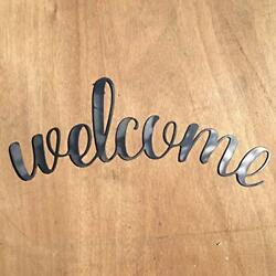 Rustic Home Cursive Welcome Sign 18 x 8 Motivational Metal Words Wall Decor $19.99
