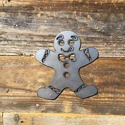 Rustic Home Gingerbread Man Sign 6 x 6 Farmhouse Metal word Christmas Holiday $19.99