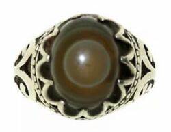 Antique Silver Ring Mounting Authentic Old Eye Stone = 男人戒指 = خاتم رجالی