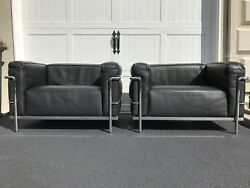 Le Corbusier Cassina LC3 Lounge Chairs - Black Leather - Stamped