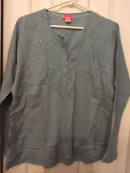 She's Cool Womens sequined Blue Long Sleeve Blouse size L 100% cotton nwot