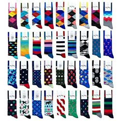 Men#x27;s Happy Socks Crew Cotton Novelty Argyle Striped Rainbow Polka Dot Holiday $13.50