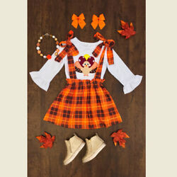 US STOCK Baby Girls Thanksgiving Turkey Clothes Tops+Suspender Skirt 3Pcs Outfit