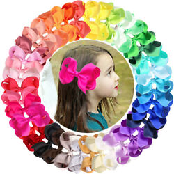 40 ColorsSet Ribbon 4 Inches Hair Bows Alligator Clips for GirlsToddlersTeens