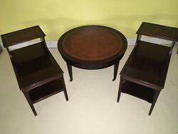 IMPERIAL MAHOGANY 3 Pc Set Coffee & 2 End Tables TOOLED LEATHER Stunning Antique