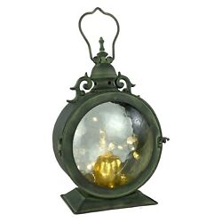 Metal Round Hanging Candle Lantern Curved Glass Insert $47.24
