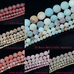 4mm 6mm 8mm 10mm Natural Frosted Matte Gemstones Round Loose Beads Jewelry 15