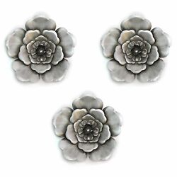 Silver Wall Flowers Set of 3 Hanging Interior Wall Art Home Decor $63.99