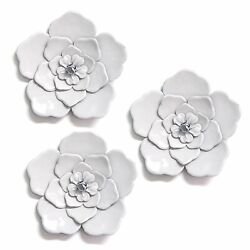 White Wall Flowers Set of 3 Hanging Interior Wall Art Home Decor $63.99