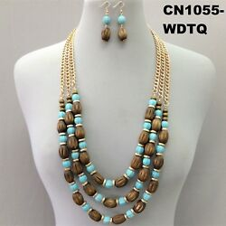 Gold Finish Turquoise Wood Beads Multi Layered Necklace & Earrings CN1055 WDTQ