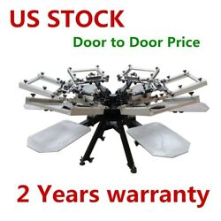 USA Stock New Heavy Duty Rotary Manual 6 Color 6 Station Screen Printing Machine