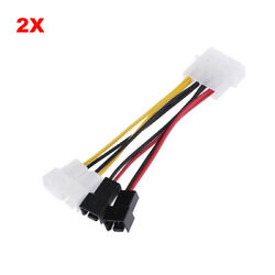 4Pin Molex to 3Pin fan Power Cable Adapter Connector - 2pcs $5.98