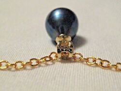 ~9-10mm REAL Black Iridescent PEARL Drop 14k Pendant Yellow Gold Chain Necklace