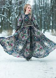 Russian style Dress Maxi. Designer Clothing. Exclusive. Full Length