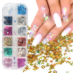 Nail Glitter Sequins Holographic Laser Butterfly Flakes Nail Art 3D Decoration $6.57