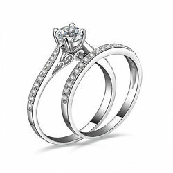 2PcsSet Women Cubic Zirconia Silver Plated Ring Engagement Wedding Ring Gift