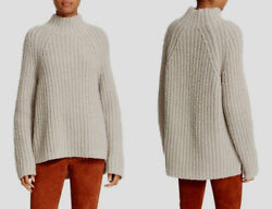 THEORY 'Rifonia O' Ribbed Lush Wool-Silk-Cashmere Blend Mockneck Sweater L $495