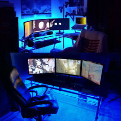 Happy New Year Gamers Players GAMING COMPUTER DESK LED Accent Lighting Bars kit $10.50