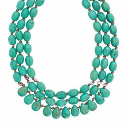 Silpada 'Drops of the Ocean' Natural Howlite 3-Strand Necklace Silver 18