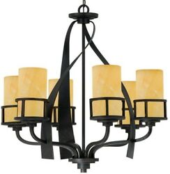 Colby 6-Light Shaded Rustic Chandelier farmhouse Cabin Lodge Decor